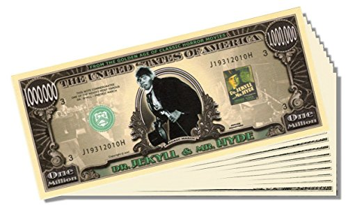 Dr. Jekyll and Mr. Hyde Million Dollar Bill - 25 Count with Bonus Clear Protector & Christopher Columbus Bill