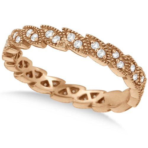 Greek Crown Marquise Shape Diamond Ring Band 14K Rose Gold (0.35Ct)