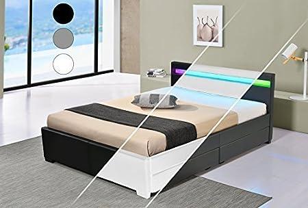 LED Bett LYON Doppelbett Polsterbett Lattenrost Kunstleder Gestell Bettkasten (180x200, Grau)