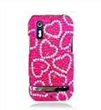 Eagle Cell PDMOTPHOTON4GF308 RingBling Brilliant Diamond Case for Motorola Photon 4G/Electrify - Retail Packaging - Hot Pink Heart
