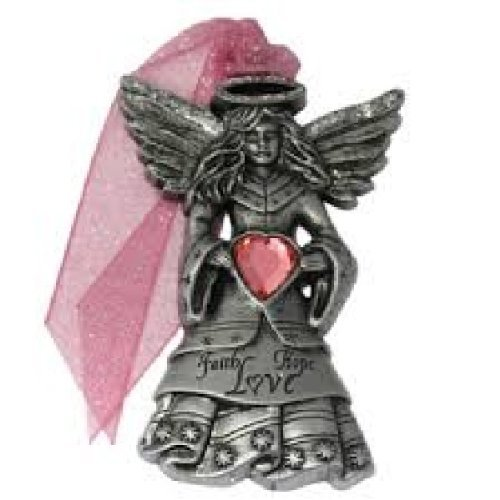 Angels Amongst Us Faith, Hope, Love Pewter Ornament with Swarovski Crystals by Gloria Duchin