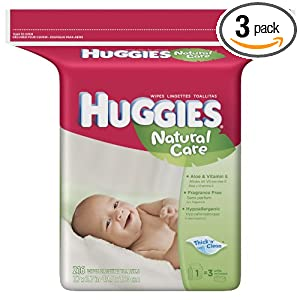 Huggies Natural Care Baby Wipes, Fragrance-Free, Refill, 216-Count Pack (Pack of 3)