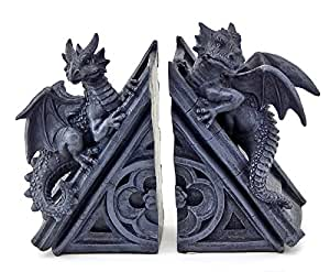 Decorative bookends gothic castle dragons sculptural book ends home kitchen - Gothic bookends ...
