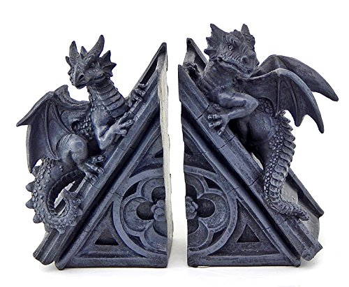 Decorative Bookends Gothic Castle Dragons Sculptural Book Ends