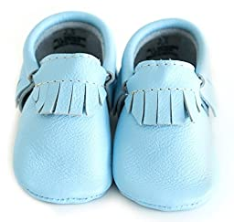 Baby Moccasins, The Coral Pear Classic Moccasin, Genuine Leather Shoes for Babies & Toddlers, Sky Blue, Size 5M (Babies & Toddlers)
