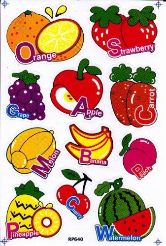 FRUIT & VEGETABLE Decal Sticker Decal Sheet 27 cm x 18 cm NEW SWEET