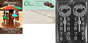 Cybrtrayd 'Birthday Lolly' Kids Chocolate Candy Mold with 50 4.5-Inch Lollipop Sticks and Chocolatier's Guide