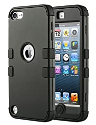 iPod Touch 5 Case ,iPod 5 Cases,ULAK [Colorful Series] 3in1 Anti Slip iPod Touch Case Hybrid with Soft Flexible Inner Silicone Skin Protective Case Cover for Apple iPod Touch 5 6th Generation(Black)