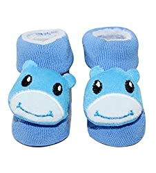 Wonderkids Cow Plush Baby Socks Booties - Blue