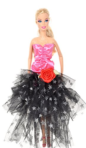 Banana Kong Doll's Black Lace Dress Rose Strapless Alluring Party Gown