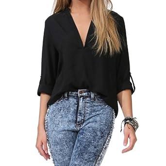 better.dealz - Sexy V-Col Chemise Mousseline Manches Longues Casual Femme Chiffon Liquette Chemisier Shirt Tops Hauts (Medium, Noir)
