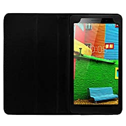 IndiSmack PU Leather Flip Flap Case For Lenovo Phab Plus 6.98 inch Tablet Front & Back Flip Cover - Black