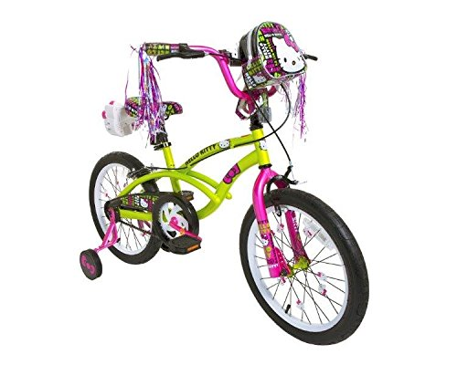 Dynacraft-8093-37ZTJ-Girls-Hello-Kitty-Bike-GreenPinkBlack-18-Inch