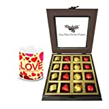 Wonderful Treat Of Wrapped Chocolates And Truffles With Love Mug - Chocholik Luxury Chocolates
