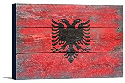 Albania Country Flag - Barnwood Painting (36x24 Gallery Wrapped Stretched Canvas)