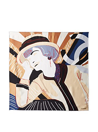 CHANEL Women's Patterned Scarf, Brown/Cream/Black