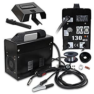 Super Deal BLACK Commercial Automatic Feed MIG 130 Flux Core Wire Welder Welding Machine 110V (MIG 130 110v Black) by Super Deal