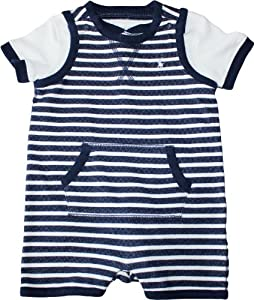 Ralph Lauren Layette Boy's Striped Shortall Set (6 Month, Navy Blue)