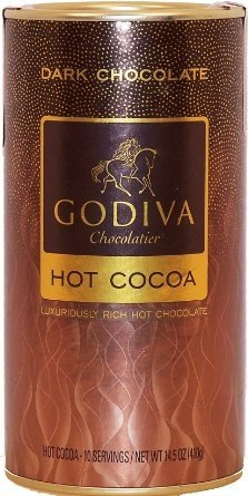 Godiva dark chocolate hot cocoa dry mix, 10 servings, 14.5-oz canister