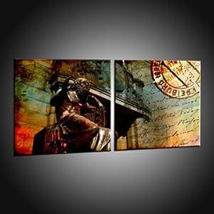 Kunstdruck Abstrakte Kunstbilder von Freiburg auf Leinwand in 90x180 cm