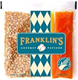 Franklin's Gourmet Movie Theater Popcorn. Organic Popping Corn, 100% Coconut Oil, & Seasoning Salt. Pre-Measured Portion Packs for 4 oz Popper (Pack of 24).