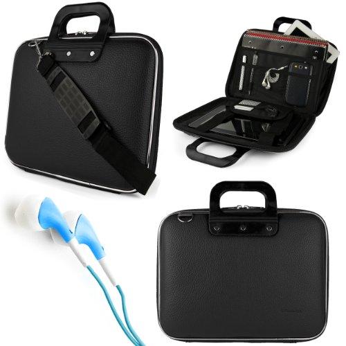 "Sumaclife Cady Bag Case W/ Shoulder Strap For Samsung Galaxy Tab Pro / Note Pro 12.2"" Tablet + Blue Vangoddy Headphones (Black)"