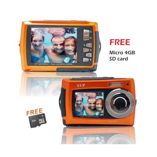Aqua 5800 Orange (with Micro 4GB) 18 MP Dual Screen Waterproof Digital Camera