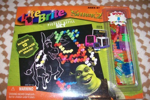 lite-brite-shrek-2-picture-refill-set-10-sheets-pegs-by-hasbro