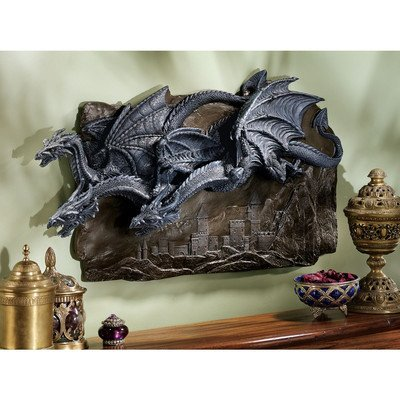 Design Toscano Cl3795 Morgoth Castle Dragons Wall Sculpture