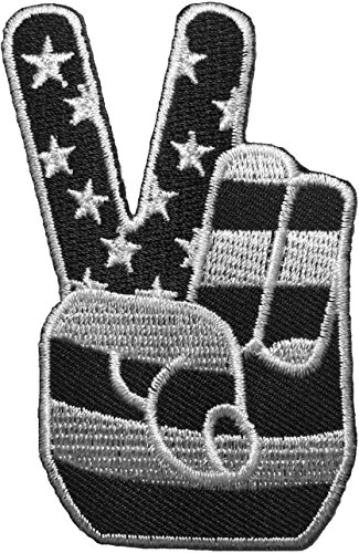 Two Finger Peace Sign with American Flag Embroidered Iron Sew On Patch - Black & White by Ranger Return (IRON-2FNG-BKWH)