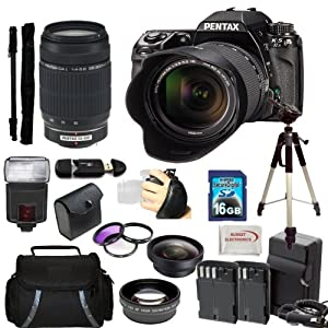 Pentax K-5 II Digital SLR Camera Kit with SMC DA 18-55mm f/3.5-5.6 AL Lens + 55-300mm f/4-5.8 AL Zoom Lens. Includes: 0.45x Wide Angle Lens, 2X Telephoto Lens, 3 Piece Filter Kit(UV-CPL-FLD), 16GB Memory Card, 2 Extended Life Replacement Batteries, Tripod, Monopod & More..!