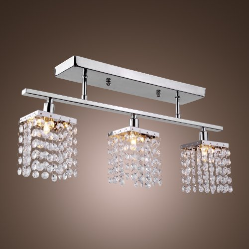 Lightinthebox® 3 Light Hanging Crystal Linear Chandelier With Solid Metal Fixture, Modern Flush Mount Ceiling Light Fixture For Entry, Dining Room, Bedroom