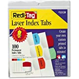 Printable Laser Index Tabs, Self Stick Plastic, 1 1/8x1 1/4, Assorted, 100/Pack (RTG33120)
