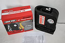 PSWholesale 300 PSI Portable 12 Volt Air Compressor - Compact and Fast Air Inflator with Pressure Gauge 300 PSI - Air Pump / Auto Repair Tire Tool Kit. Ideal for Car, Truck, SUV, Bike, Caravan, Camping beds, Sporting Goods, ETC
