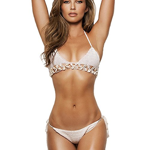 Itopfox Women's Knitted Swimsuit Crochet Bralette Shell Bikini Set White