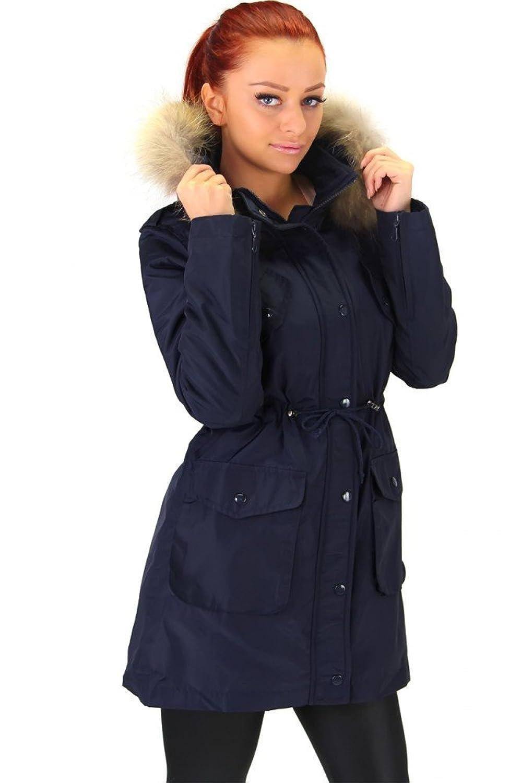 Moderne Parka Jacke mit Kapuze und Echtfell Navy blau