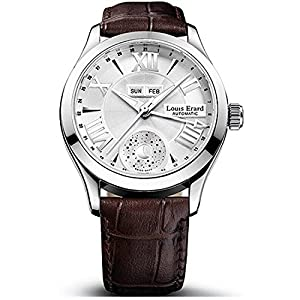 Louis Erard Men's 1931 40mm Brown Leather Band Steel Case Automatic Silver-Tone Dial Watch 37204AA21.BDC21