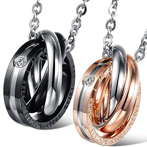 "Oidea 2 Pcs Stainless Steel ""The world looks wonderful when i am with you"" Lover's Message Pendant Necklace, Dual Rings hook-ups Pendant with Chain Included"