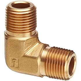 "Parker Brass Pipe Fitting, 90 Degree Elbow, 3/8"" NPT Male X 3/8"" NPT Male"