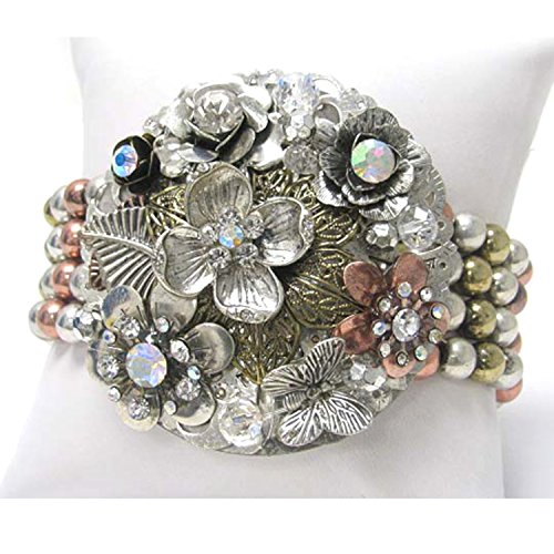Crystal Flower Corsage with Silver, Gold, and Copper Tone Bracelet