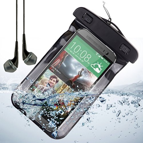 Universal Waterproof Pouch Dry Bag For Samsung Galaxy S4 / Samsung Galaxy S3 - Black + Vangoddy Headphone With Mic , Black