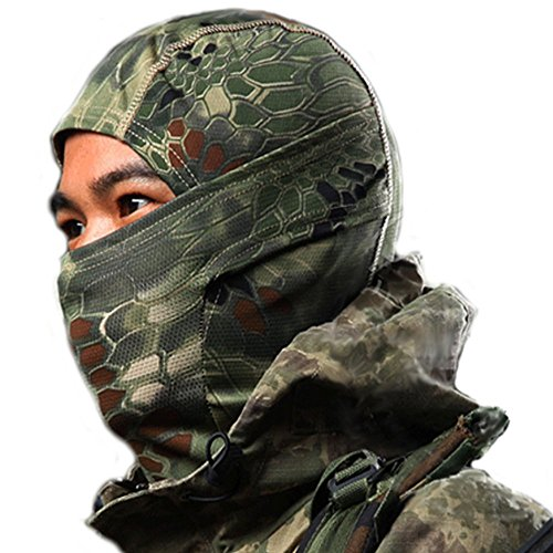 サバゲー 3ウェイ フェイスマスク (クリプテック迷彩柄 目出し帽/マスク/ネックウォーマー) バラクラバ カラビナ 付きセット スノボ バイク防寒 (マンドレイク/森林迷彩)