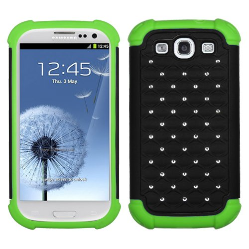 Fits Samsung I747 L710 T999 I535 R530 I9300 Galaxy S Iii Hard Plastic Snap On Cover Black/Electric Green Luxurious Lattice Dazzling Totaldefense At&T