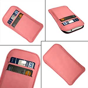 i-KitPit Quality PU Leather Pouch Case Cover For Micromax Canvas Magnus A117 (LIGHT PINK)