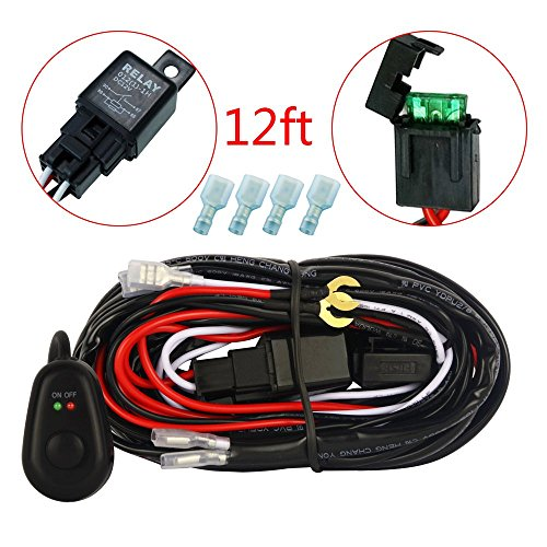 MICTUNING 12ft Wiring Harness Kit for Off Road LED Work Light Bar - 40Amp Relay 30Amp Fuse ON/OFF Switch (Led Off Road Wire Harness compare prices)