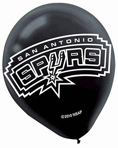 "Amscan San Antonio Spurs Printed Latex NBA Basketball Team Party Balloons, 12"", Black - 1"