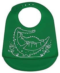 modern-twist Baby Silicone Bucket Bib, Crocodile Cuddles, Green