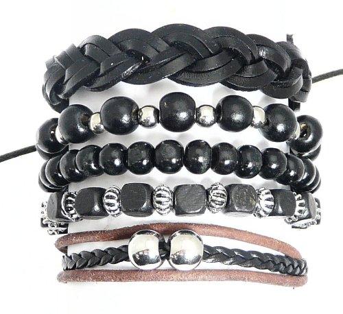 Serie di bracciali di perline di legno 5 / cord & cuoio stile surf surfer braccialetti - 181