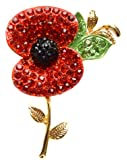 A Stunning Bright Red Crystal Poppy Brooch With Swarovski Elements