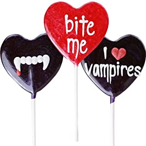 New Vampire Lollipal candy suckers. Assortment of 6. Lollipops with Bite Me, I love vampires and fangs!